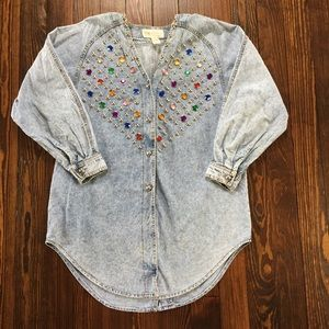Vintage Jeweled Stud Button Front Denim Shirt, 1X